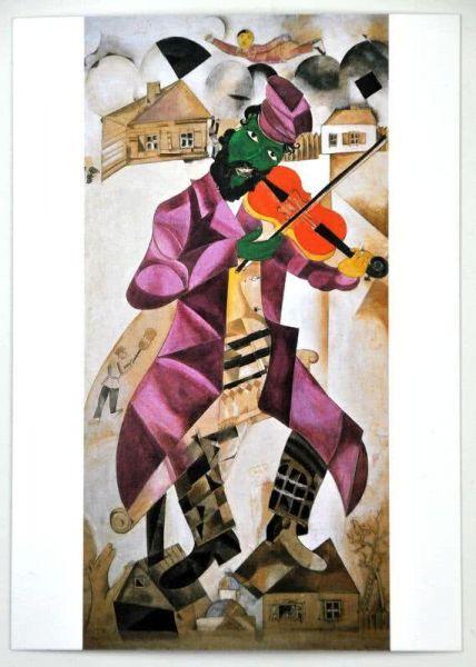 Postkarte Chagall: Der Fiedler