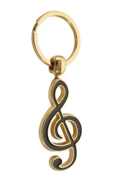 Schlüsselanhänger Violinschlüssel golden/schwarz