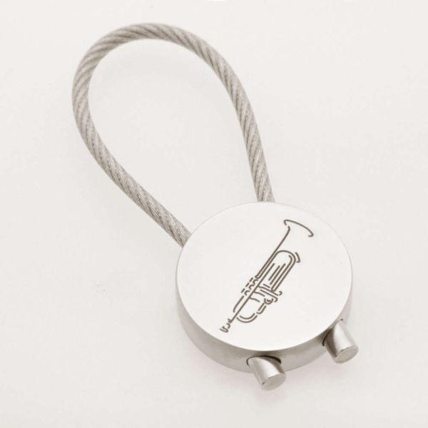 Schlüsselanhänger Trompete verchromt