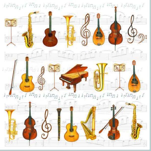 Lunch-Serviette Musikinstrumente