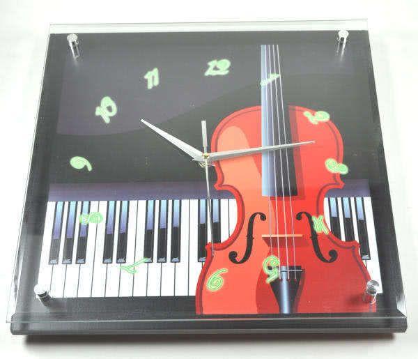 Wanduhr Diana - Violine und Klaviatur