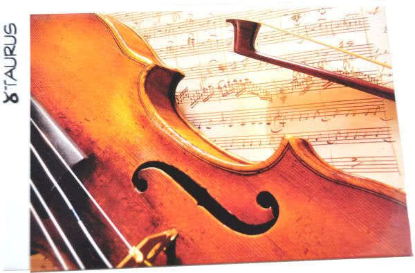 Klappkarte Geige mit Notenblatt