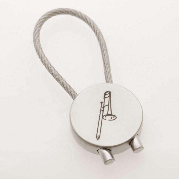 Schlüsselanhänger Posaune verchromt