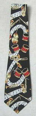 Krawatte Musikinstrumente schwarz