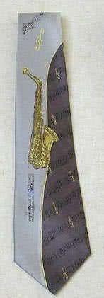 Krawatte Saxophon/Noten grau