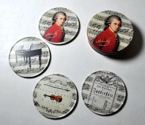 4 Untersetzer Mozart mit Blechdose