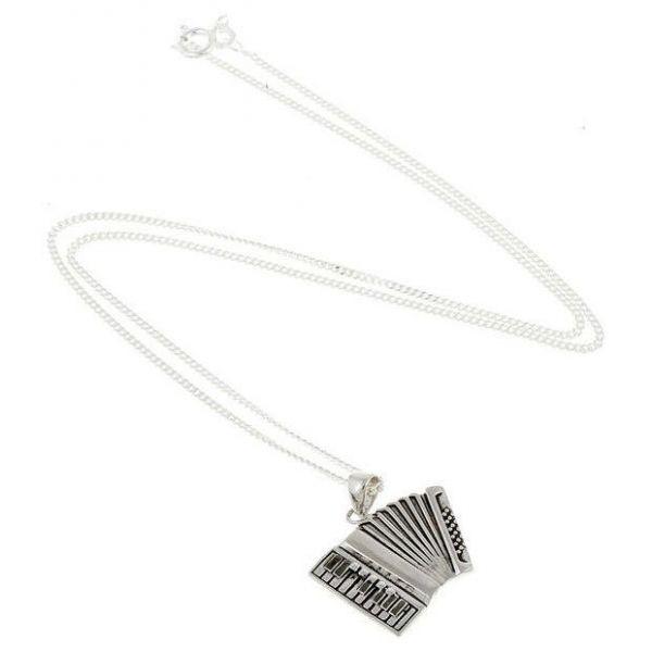 Halskette mit Anhänger Akkordeon 925er silber