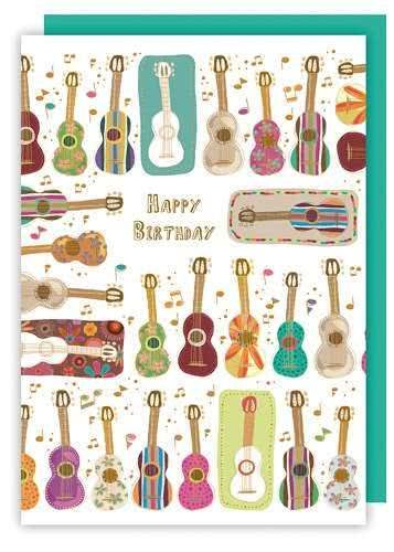Klappkarte Happy Birthday (Gitarren)