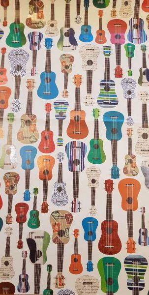Geschenkpapier Motiv Gitarren bunt